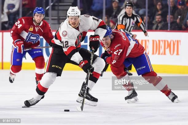 Belleville Senators right wing Jack Rodewald skates away with the puck during the Belleville Senators versus the Laval Rocket game on February 14 at...