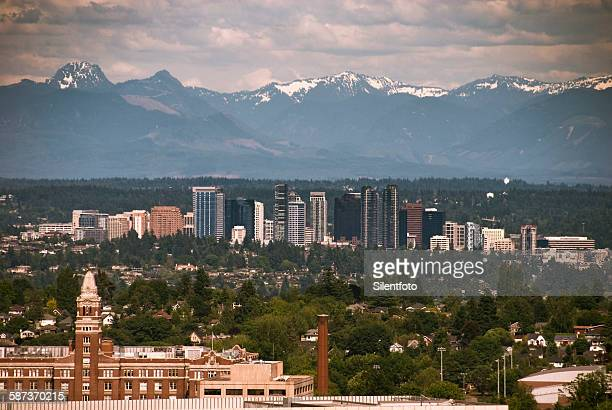 bellevue - greater seattle - bellevue skyline stock pictures, royalty-free photos & images