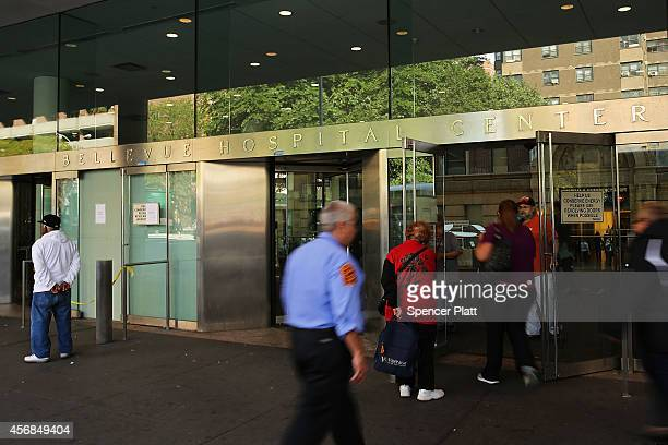 Bellevue Hospital is viewed following a news conference on how the facility would receive a suspected Ebola patient on October 8 2014 in New York...