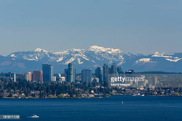 bellevue skyline over lake washington - bellevue skyline stock pictures, royalty-free photos & images