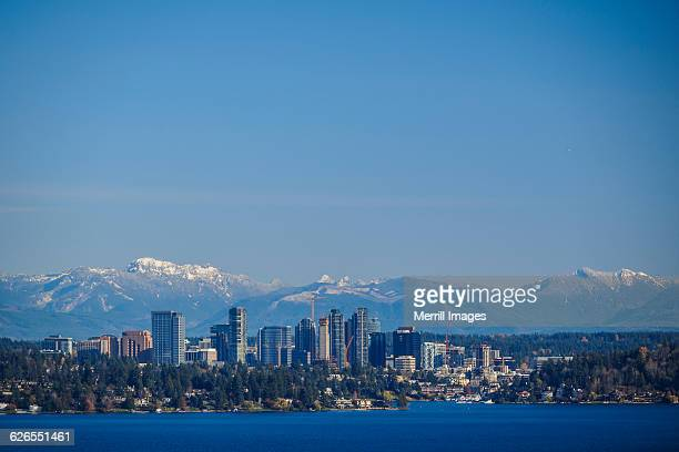 bellevue wa skyline and cascades - bellevue skyline stock pictures, royalty-free photos & images