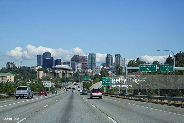 bellevue, washington view from highway - bellevue skyline stock pictures, royalty-free photos & images