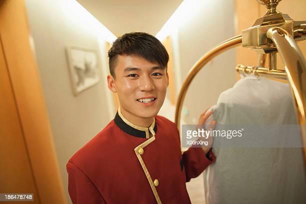 Bellhop smiling, portrait