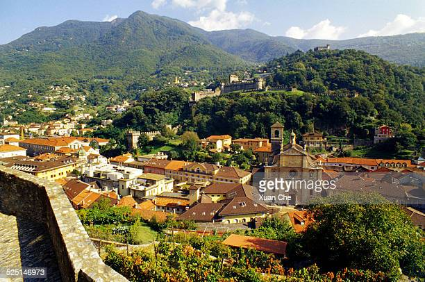 bellinzona and castle - xuan che stock pictures, royalty-free photos & images