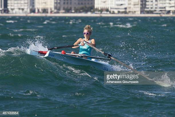 Bellio Benedetta in the Coastal Women's Single Sculls Final Race during the 2014 World Rowing Coastal Championship at Aegean Sea off the east coast...