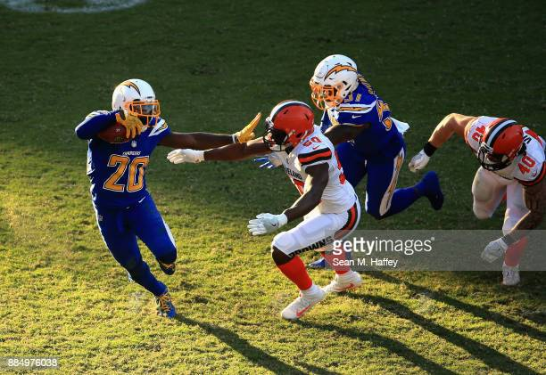 J Bello and Danny Vitale of the Cleveland Browns chase Desmond King of the Los Angeles Chargers during the second half of a game at StubHub Center on...