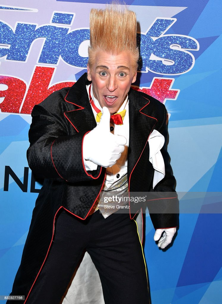 Bello Nock arrives at the Premiere Of NBC's 'America's Got Talent' Season 12 at Dolby Theatre on August 15, 2017 in Hollywood, California.