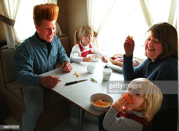 Bello Nock with wife Jenny and daughters Amariah left and Annaliese in their trailer at the Big Apple Circus