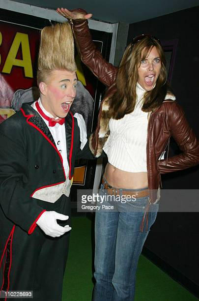 Bello the Daredevil Clown and Carol Alt during Ringling Brothers and Barnum Bailey Circus PreShow Celebrity Event at Madison Square Garden in New...