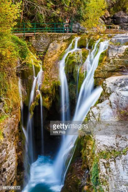 Bellos river and Aso waterfall A–isclo Canyon Ordesa National Park Pyrenees Huesca Spain Europe