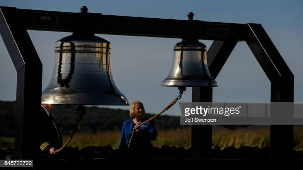 Bells are sounded as each victim's name is read at the Flight 93 National Memorial on the 16th Anniversary ceremony of the September 11th terrorist...