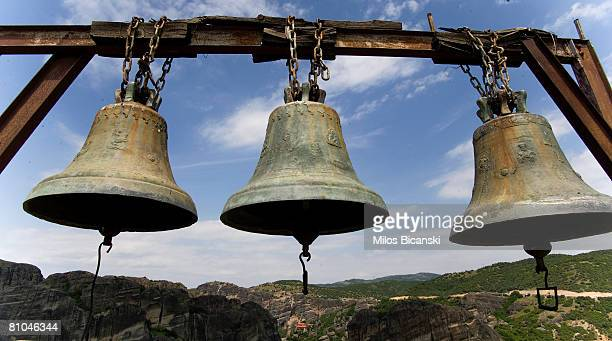 Bells at Agia Triada Monastery hang in the sunshine at Meteora on May 9 2008 in Athens Greece Monks and hermits have found refuge for over 1000 years...