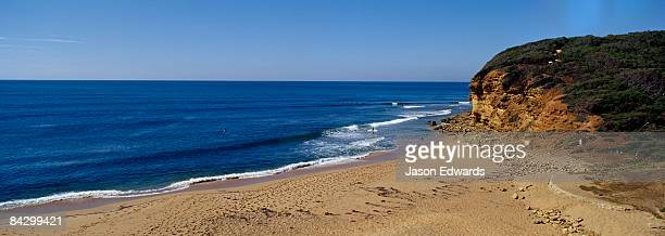 The icon of Australian surfing Bells Beach, on a warm summers morning.