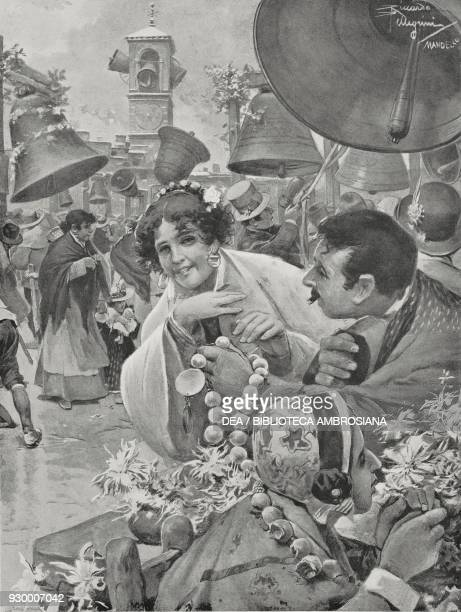 Bells Fair Easter in Val di Rose Italy drawing by Riccardo Pellegrini from L'Illustrazione Italiana Year XXXVI No 15 Easter number April 11 1909