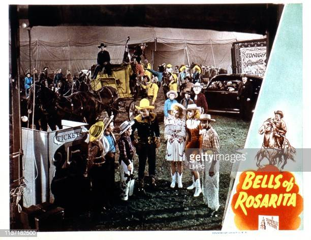 Bells Of Rosarita lobbycard fourth fifth and sixth from front left Roy Rogers Dale Evans Adele #10Mara third from left second row Gabby Hayes 1945