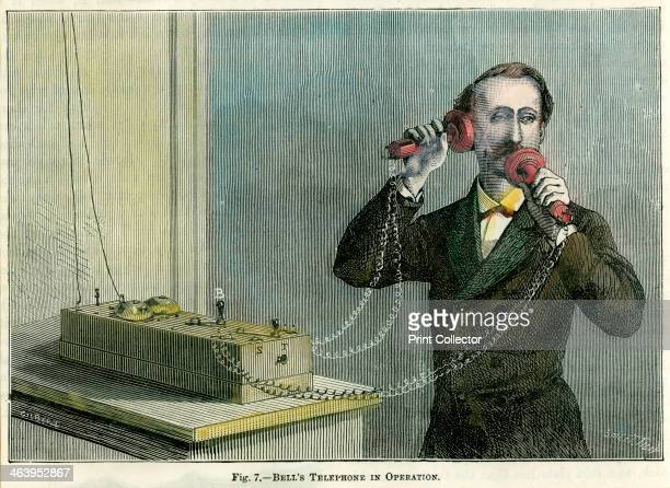 'Bell's telephone in operation' late 19th century Scottishborn American inventor Bell filed the patent for his telephone at the United States Patent...