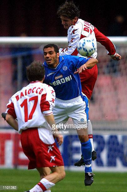 Bellucci of Napoli and Di Lorrto of Perugia in action during the Serie A 23rd Round League match between Napoli and Perugia played at the San Paolo...