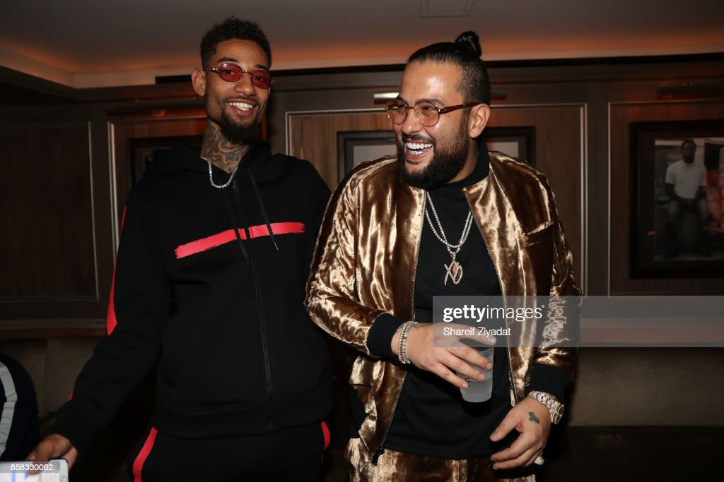 Belly and PNB Rock attend Belly Album Listening Session at 40 / 40 Club on October 5, 2017 in New York City.