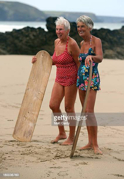 Belly boarders pose for a photograph as they take part in a senior ladies heat of the annual World Belly Boarding Championships at Chapel Porth on...