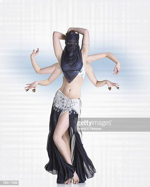 belly dancer with six arms - belly dancing stock photos and pictures