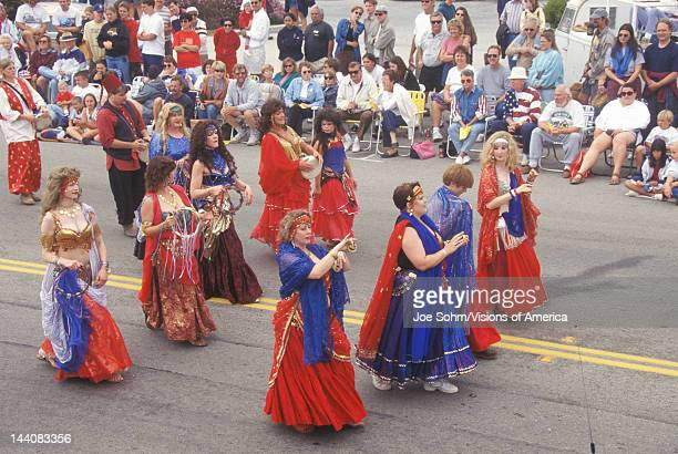 Belly Dancers Marching in July 4th Parade, Cayucos, California
