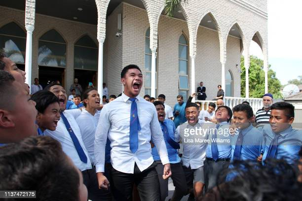Belmore Boys High School students perform the Haka on the steps of the Lakemba Mosque in solidarity with the victims of the Christchurch attacks last...