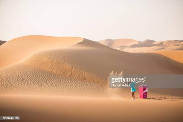 Belén Mozo of Spain poses on sand dunes ahead of the Fatima Bint Mubarak Ladies Open on October 28 2017 in Abu Dhabi United Arab Emirates