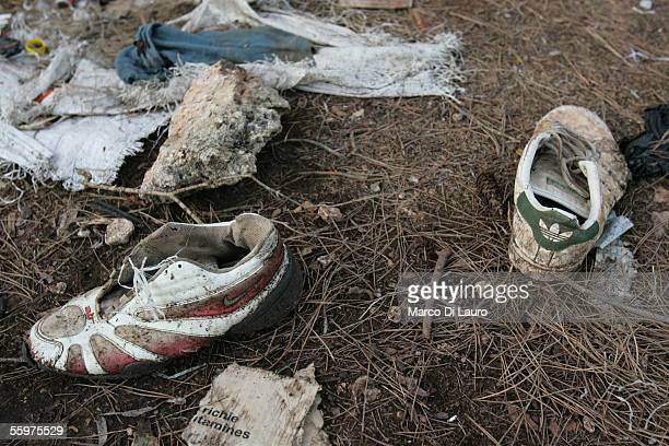 Belongings are left by African migrants in the forest where migrants hid waiting for the right moment to try to jump over the border between Morocco...