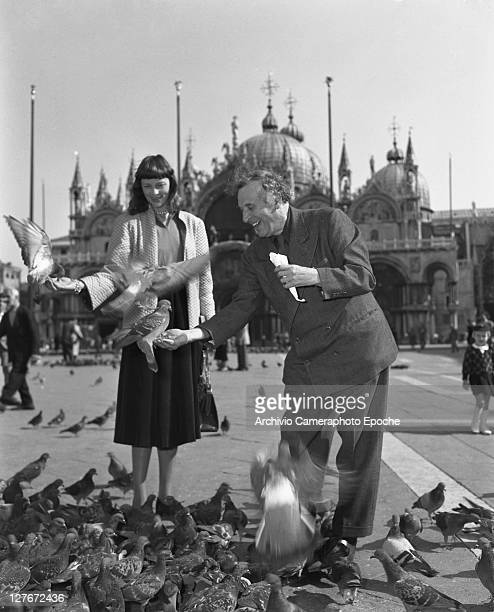 Belorussian painter Marc Chagall with his wife in St Mark Square Venice 1948