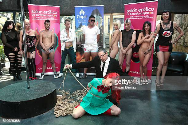 Below Andres Shibari and Amarna Miller perform a Shibari figure Above Bibian Noray Nora Barcelona Ratpenat Ena Dulce and MIss Minerva during the...