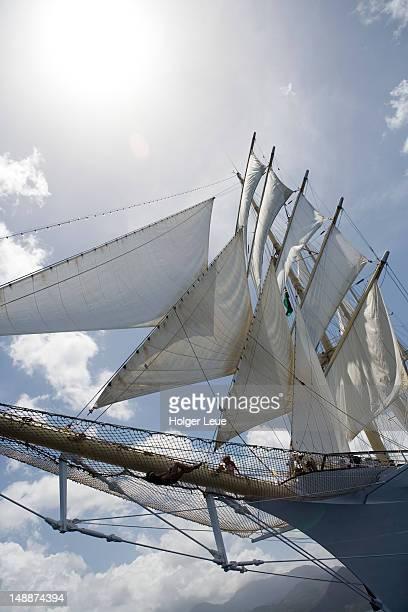 Below bowsprit of cruiseship Star Clipper.