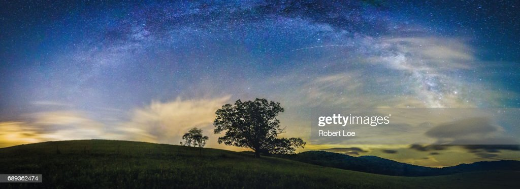 Below the Milky Way at the Blue Ridge Mountains : Stock Photo