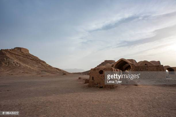 Below the Towers of Silence traditional Zoroastrian burial circles where bodies were left to be eaten by scavenger birds outside of Yazd Iran Yazd...