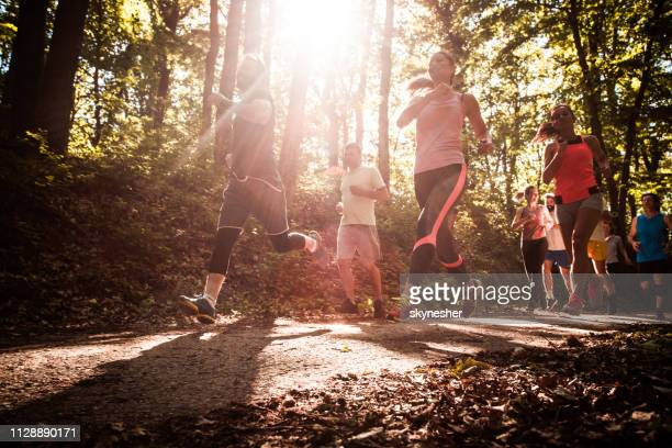 below view of athletes running a marathon in the forest. - competition stock pictures, royalty-free photos & images