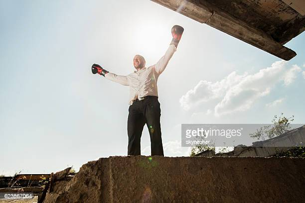 Below view of athletic businessman with boxing gloves celebrating.