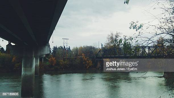 below view of bridge over willamette river - corvallis stock pictures, royalty-free photos & images