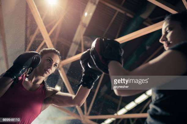 Below view of determined boxer with a coach on a sports training.