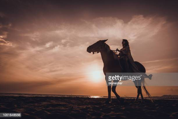 Below view of happy woman enjoying while riding a horse on the beach at sunset.