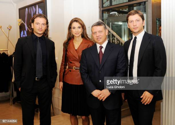 Belstaff Owner Manuele Malenotti Queen Rania of Jordan King Abdullah II of Jordan Belstaff Owner Michele Malenotti pose inside the Belstaff Flagship...