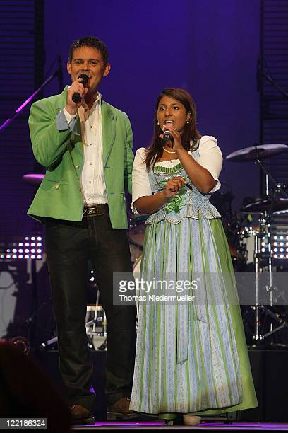 Belsy Demetz and Florian Fesl of Florian and Belsy performs at the benefit concert Stefanie Hertel Stefan Mross Freunde Live at the Europapark on...