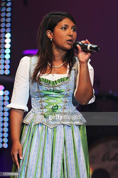 Belsy Demetz of Florian and Belsy performs at the 1 Benefit Concert Stefanie Hertel Stefan Mross Freunde Live at the Europapark on August 26 2011 in...