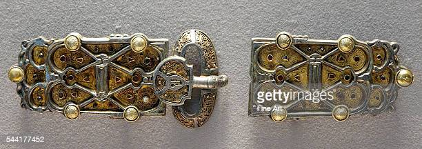 Belt plaques from the jewelry hoard of Queen Aregund wife of Clotaire I king of the Franks Silver glass paste and garnets Merovingian Gaul circa 570...