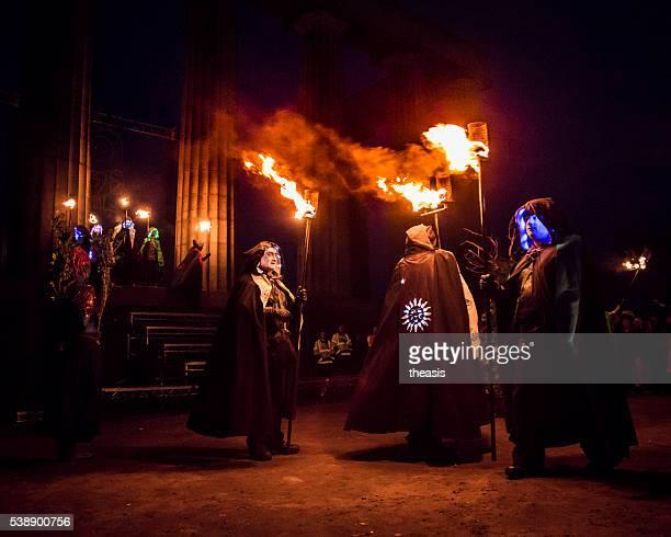 beltane fire festival, edinburgh - beltane fire festival stock pictures, royalty-free photos & images