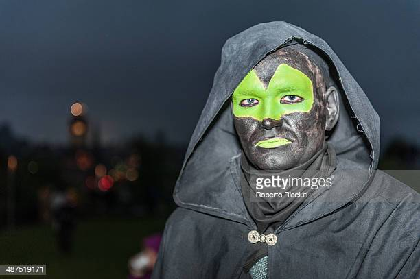 Beltane Fire Society performer celebrates the coming of summer by participating in the Beltane Fire Festival on Calton Hill April 30 2014 in...