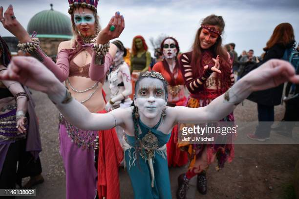 Beltane Fire Society performers celebrate the coming of summer by participating in the Beltane Fire Festival on Calton Hill April 30 2019 in...