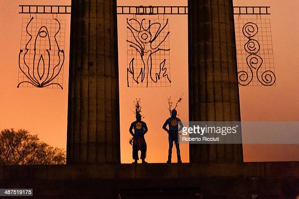 Beltane Fire Society performers celebrate the coming of summer by participating in the Beltane Fire Festival on Calton Hill April 30 2014 in...