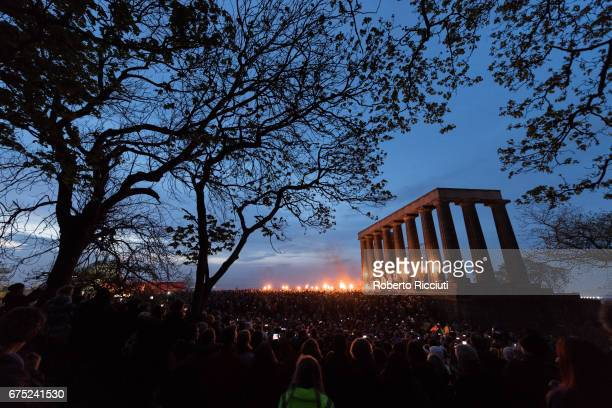 Beltane Fire Society performers celebrate the coming of summer by participating in the Beltane Fire Festival on Calton Hill on April 30, 2017 in...
