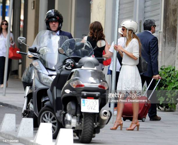 Beltran Gomez Acebo and Andrea Pascual are seen riding a motorbike on June 27 2012 in Madrid Spain