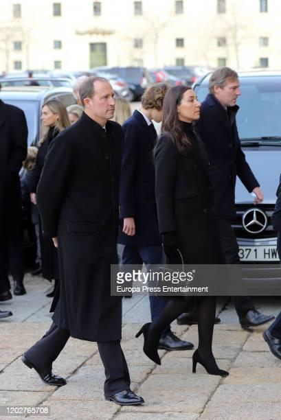 Beltran Gomez Acebo and Barbara Cano attend Pilar de Borbon institutional funeral at El Escorial on January 29 2020 in El Escorial Spain
