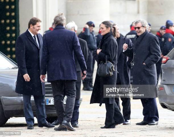 Beltran Gomez Acebo and Laura Ponte attend Pilar de Borbon institutional funeral at El Escorial on January 29 2020 in El Escorial Spain